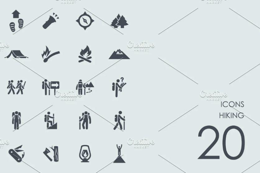 Creative Hiking Vector Icons