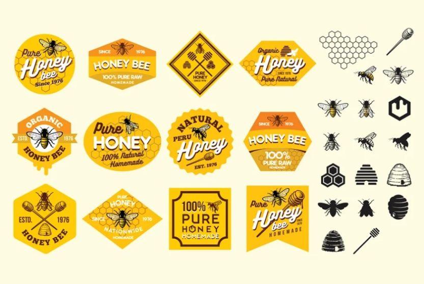Creative Honey Bee Logo Set