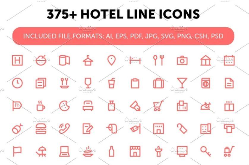 Creative Hotel Line Icons