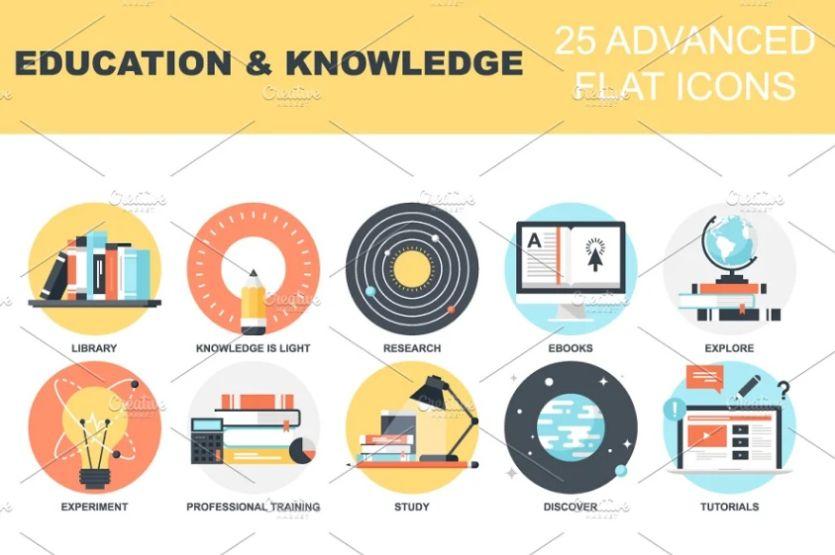 Creative Knowledge Icons Set