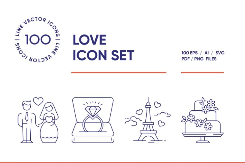 Creative Lined Love Icons