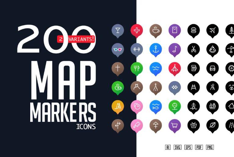 Creative Map Pins Icon Set