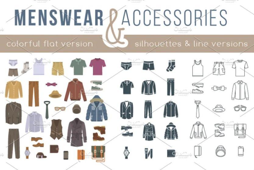 Creative Menswear Icons Set