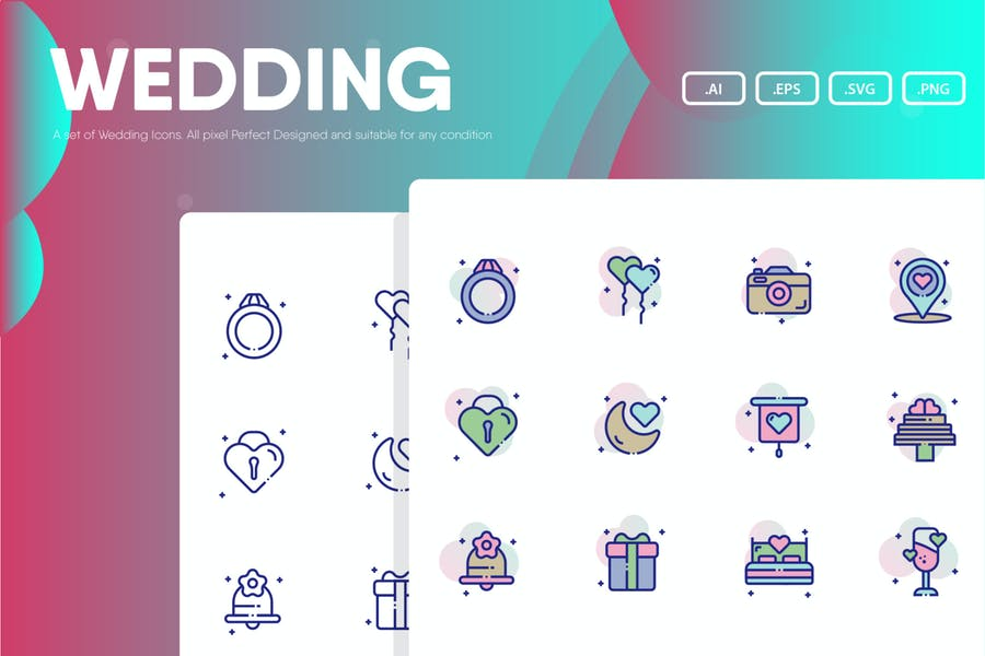 Creative Solid and Lined Wedding Icon Pack