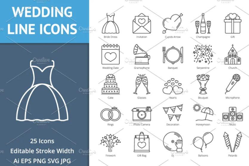 Creative Wedding Line Icons