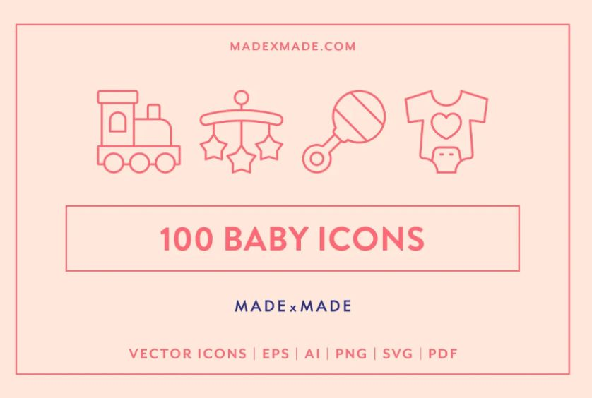 Cute Baby Line Icons Set
