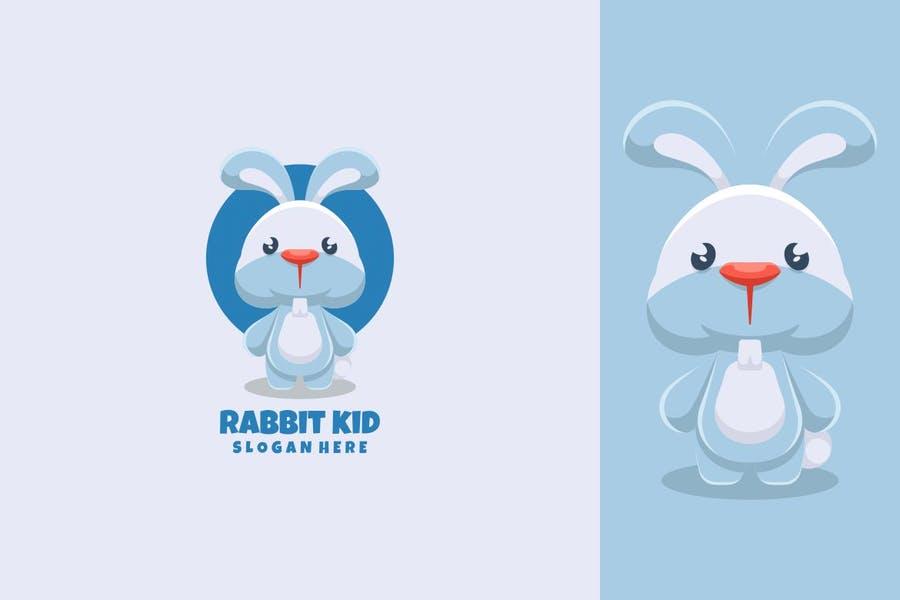 Cute Rabbit Kid Logo