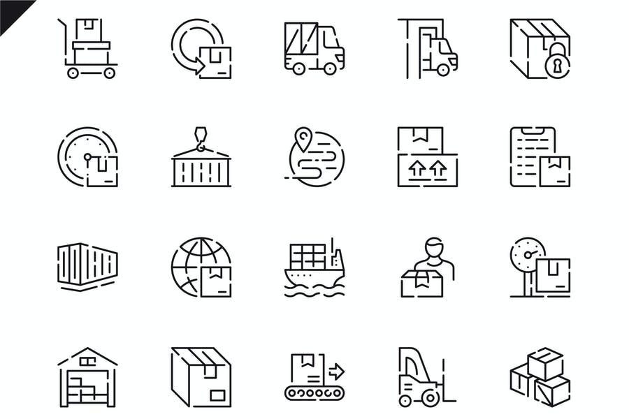 Delivery Line Illustration Icons