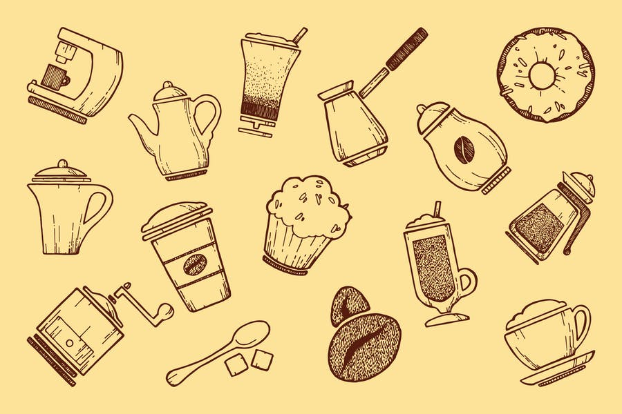 Doodle Style Coffee Icons Pack
