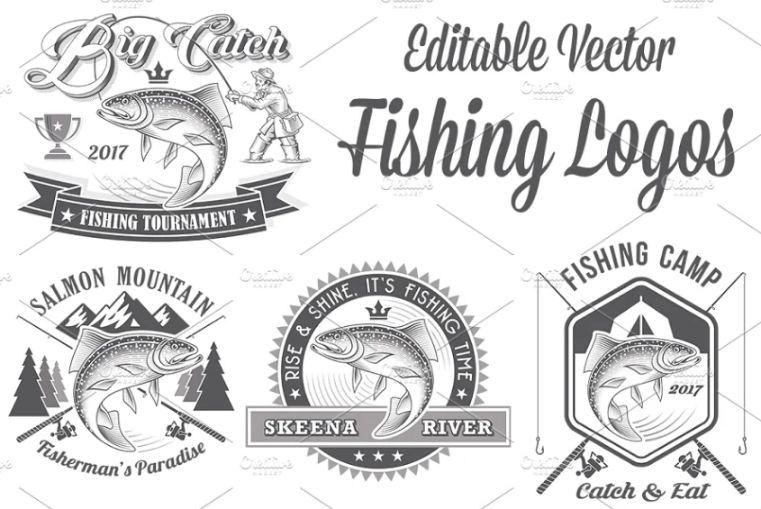 Editable Fishing Logos and Badges
