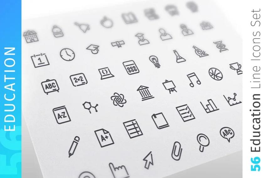 Educational Line Icons Set