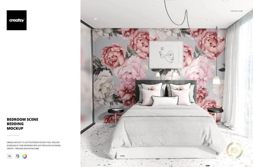 Elegant Bedding Scene Mockup PSD