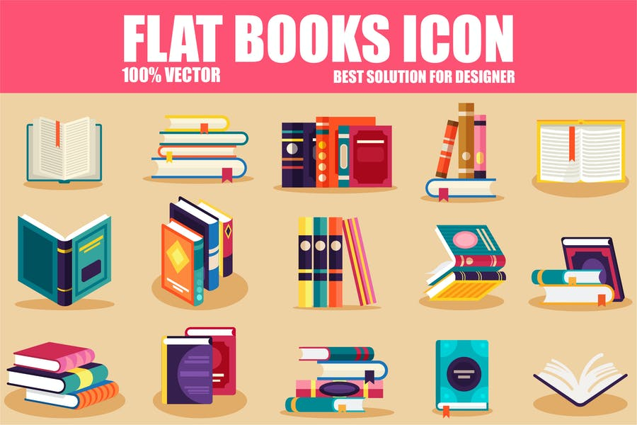 Flat Book Vector Icons