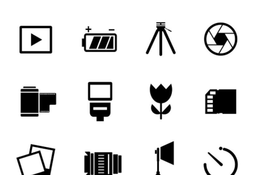Flat Photography Icons Set