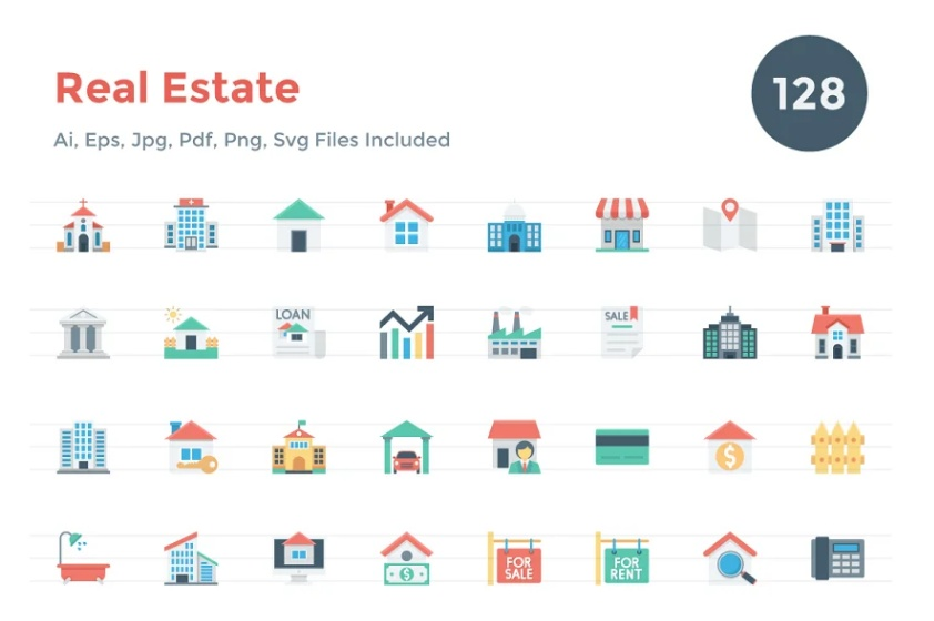 Flat Style Building Icons