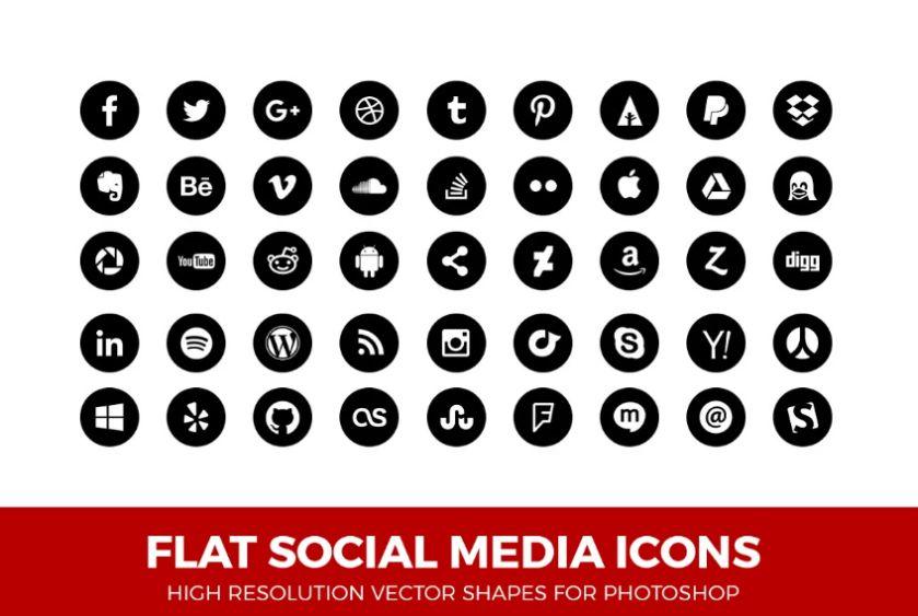 Flat and Circle Icons Set