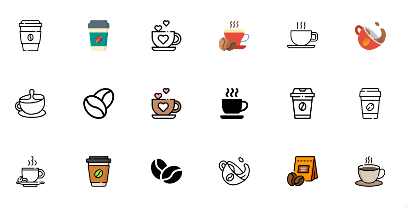 Free Coffee Watercolor Icons