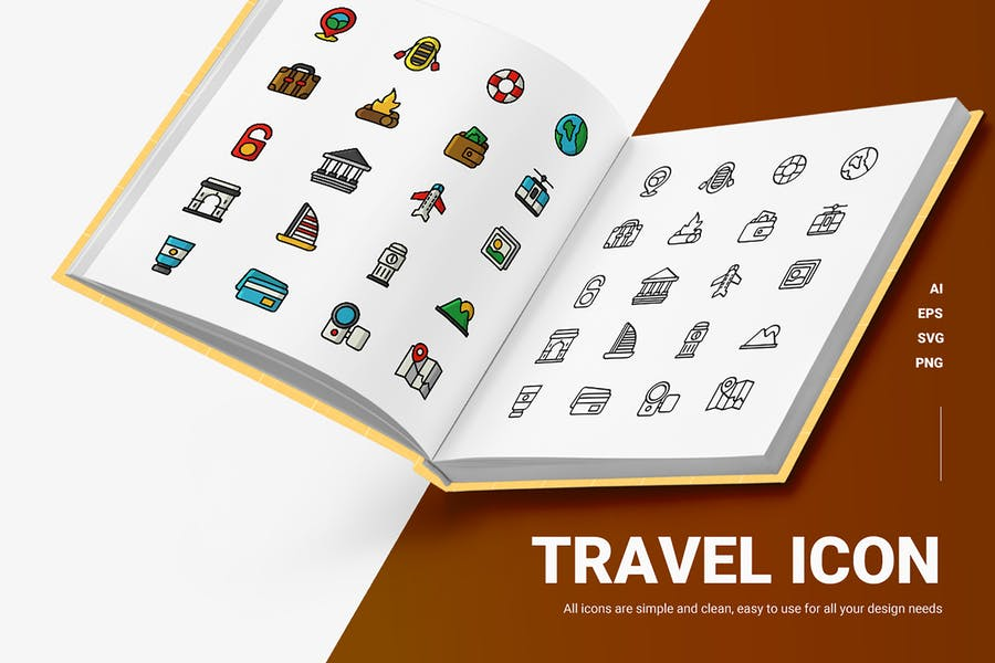 Fully Colored Travel Icons
