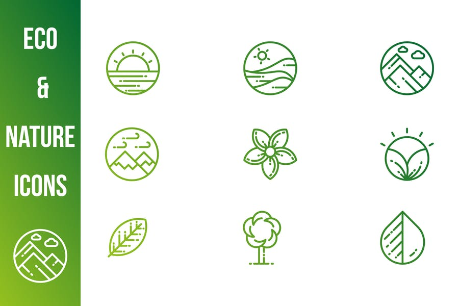 Fully Editable Eco and Nature Icons