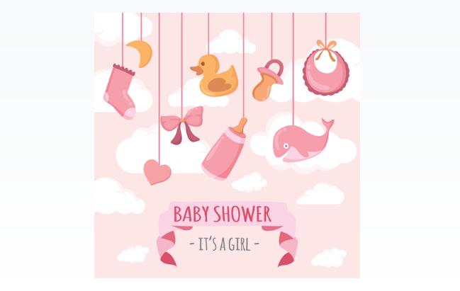 Girl Baby Shower Illustration