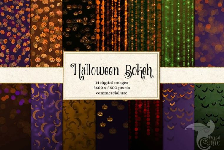 Halloween Bokeh Digital Papers