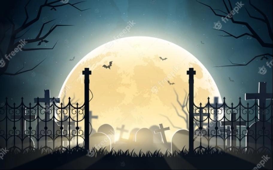 Halloween Cemetery Background Design