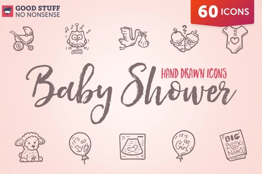 Hand Drawn Baby Shower Icons