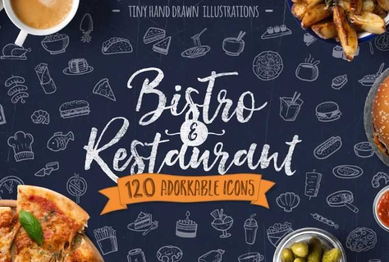 Hand Drawn Bistro and Restaurant Icons