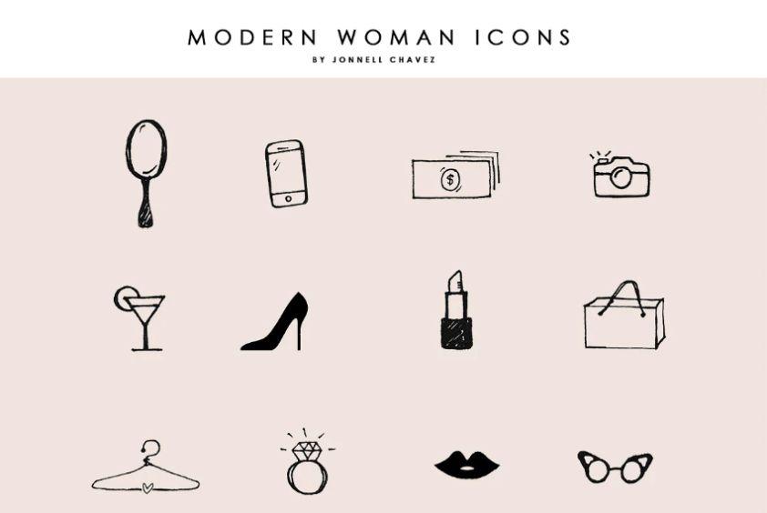 Modern Women Femhttps://creativemarket.com/JonnellChavez/2427276-Modern-Femme-Hand-Drawn-Iconsinine Icons