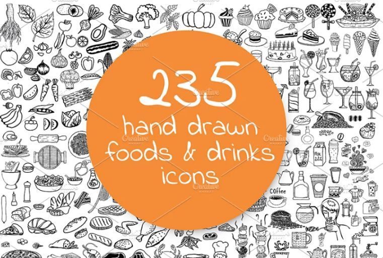 Hand Drawn Restaurant Food Icons
