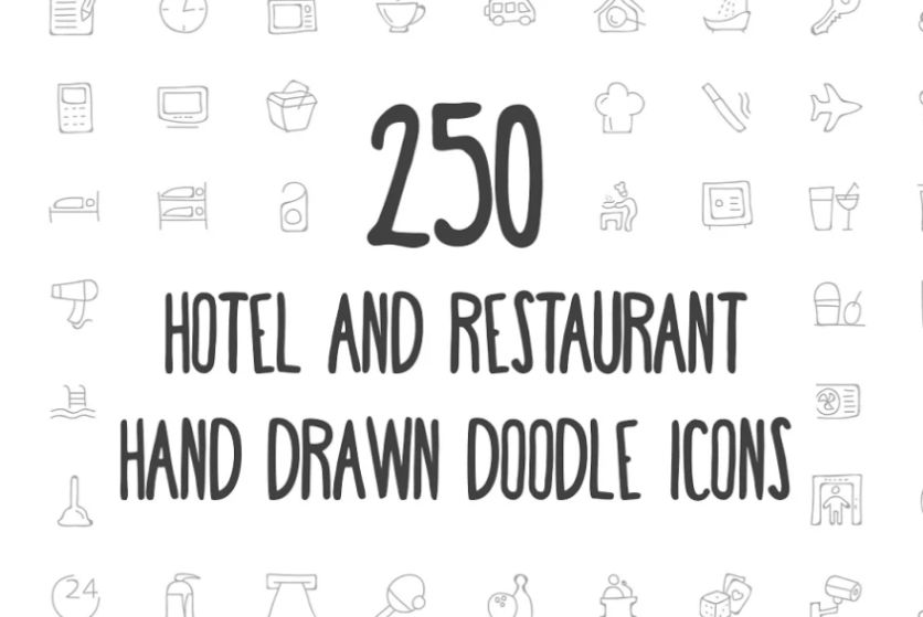 Hand Drawn Restaurant and Hotel Icons