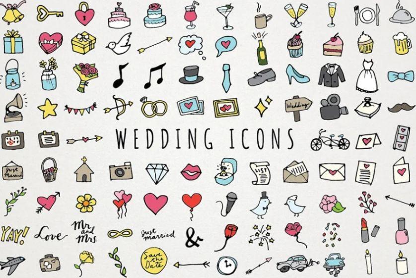 Hand Drawn Wedding Icons Set
