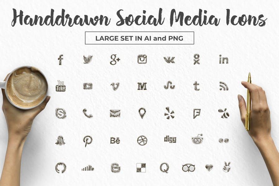 Handdrawn Social Media Icons Set