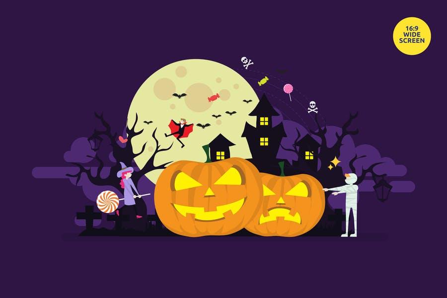 Happy Halloween Vector Illustration Concept