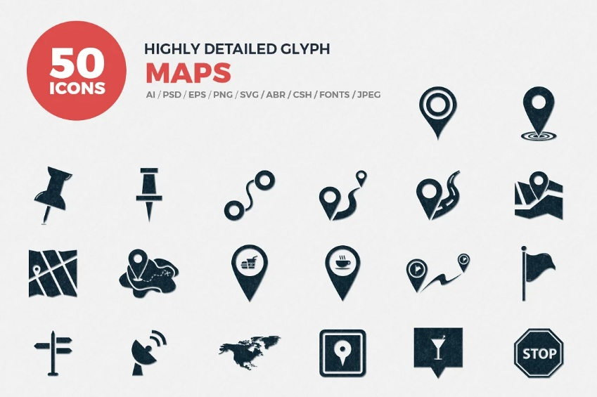 High Detailed Map Icons