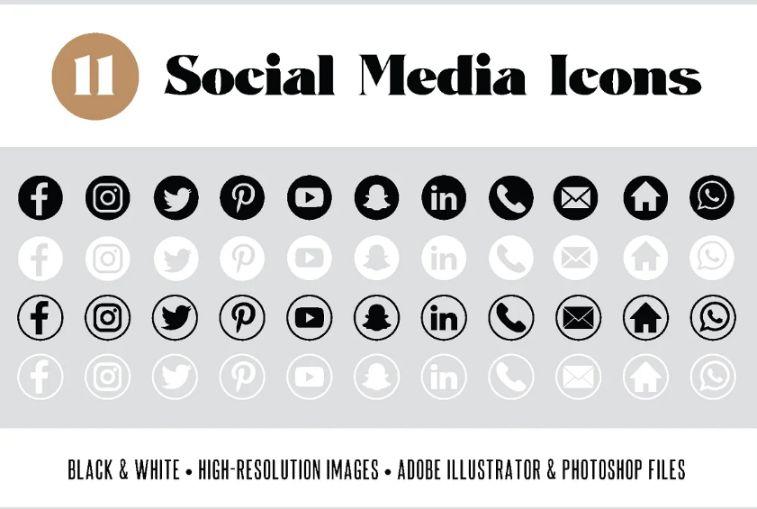 High Resolution Social Media Badges