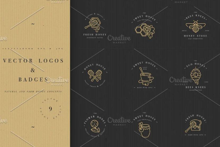 Honey Vector Logos and Badges