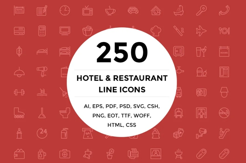 Hotel and Restaurant Line Icons