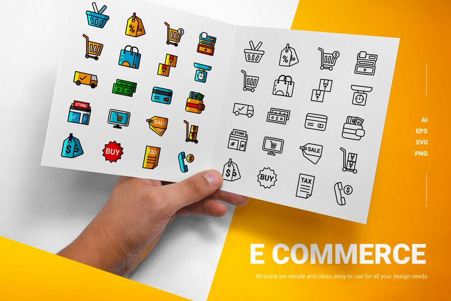 Inline and Solid E Commerce Icons