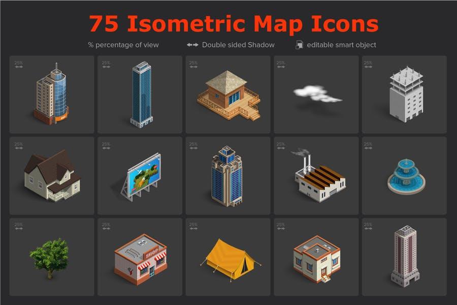 Isometric Map Icons Set