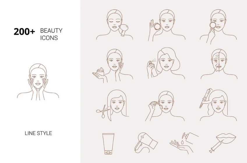 Line Style Beauty Icons