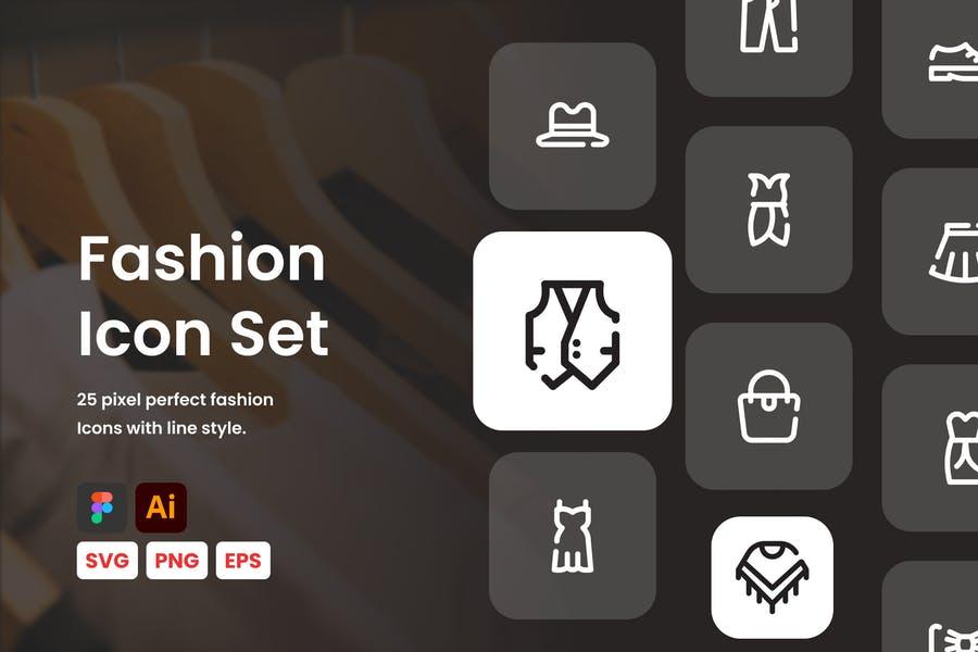 Line Stye fashion Icons Set