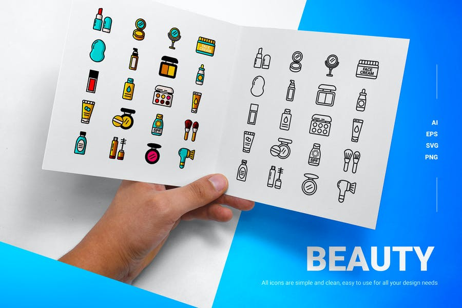 Line and Solid Beauty Icons