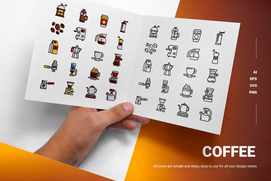 Line and Solid Coffee Icons