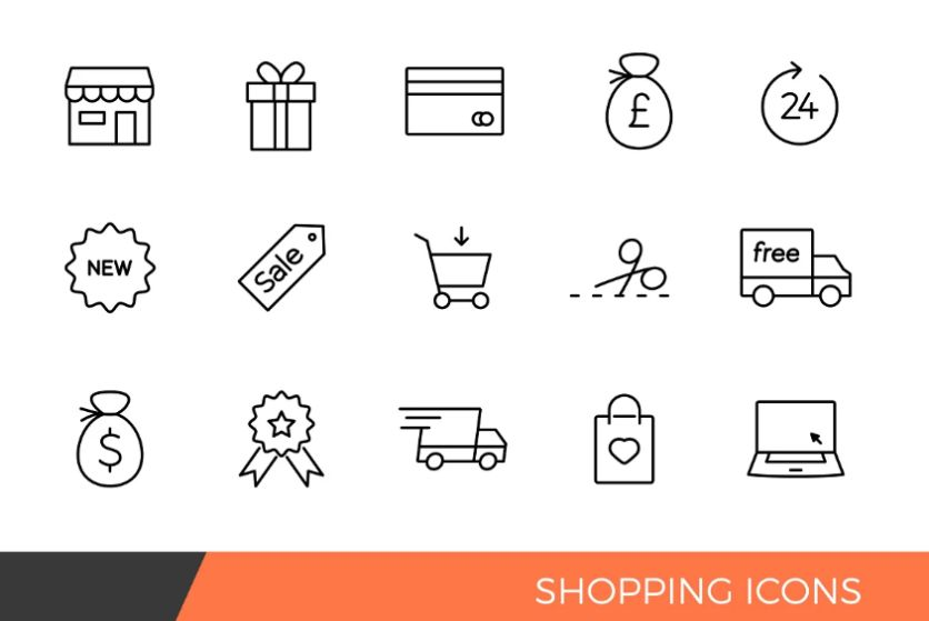 Linear ShoppingUcons Set