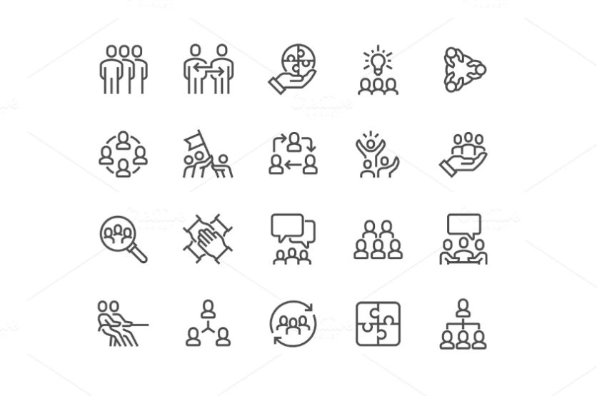 Linear Style Team Work Icons