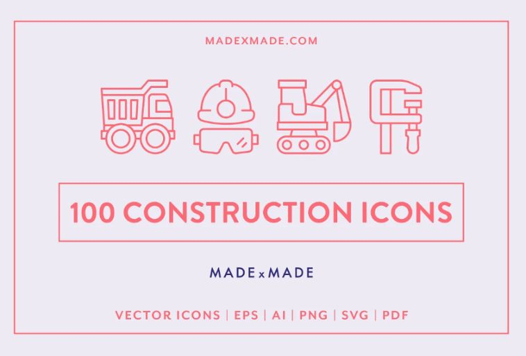 Lined Construction Icons Set