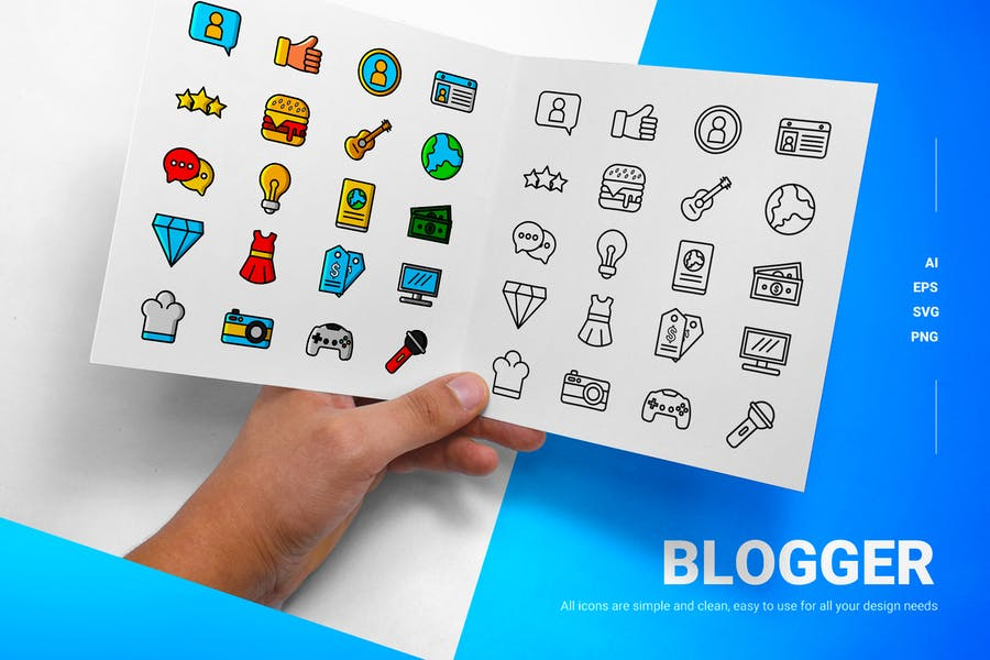 Lined and Solid Blog Icons