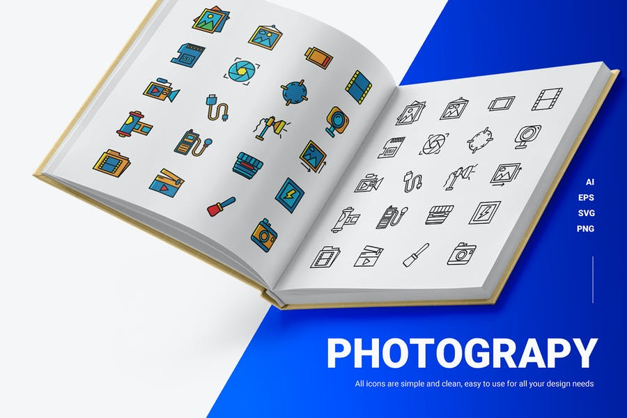Lined and Solid Photography Icons