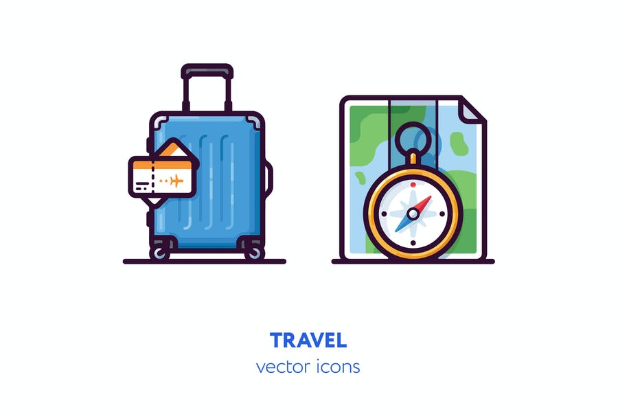 Luggage and Maps Vector Icons
